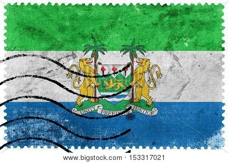 Flag Of Sierra Leone With Coat Of Arms, Old Postage Stamp