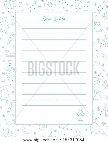 Template of letter to santa claus with place for your text. Vector background.