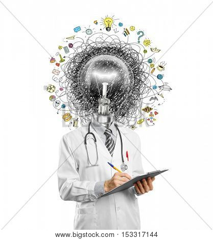 lamp head doctor man have got a great idea