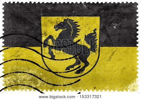 Flag Of Stuttgart With Coat Of Arms, Germany, Old Postage Stamp
