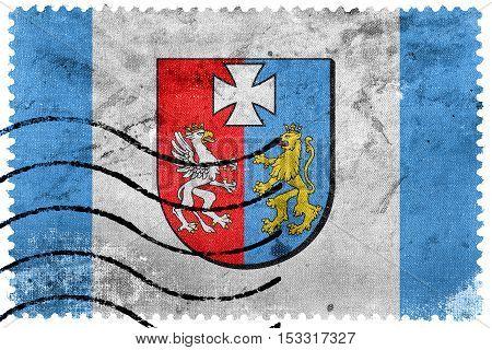 Flag Of Subcarpathian Voivodeship, Poland, Old Postage Stamp