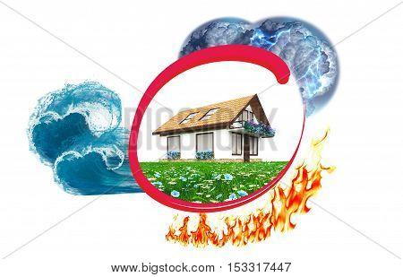 House insurance against damage: lightning rain, tsunami fire