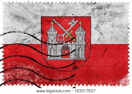 Flag Of Tartu, Estonia, Old Postage Stamp