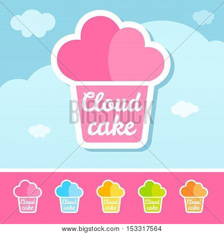 Cloud Cake Logo Template Design Vector illustration. Light clouds background, hearts. Flat, icon, cute, cartoon style.