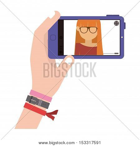 human hand with colorful bracelets taking a photo selfie with smartphone device over white background. vector illustration