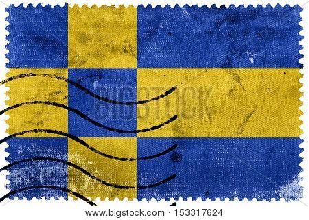 Flag Of Tilburg, Netherlands, Old Postage Stamp