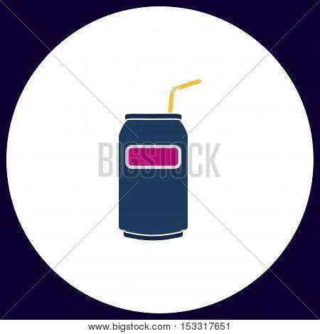 Soda Simple vector button. Illustration symbol. Color flat icon