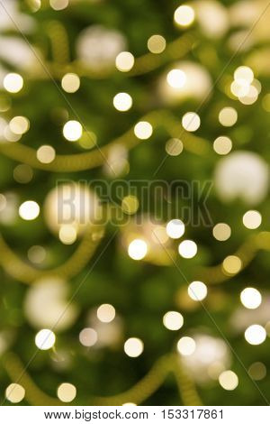 Christmas tree with lights bokeh the spirit of the New Year holiday mood