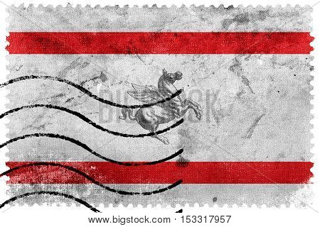 Flag Of Tuscany Region, Italy, Old Postage Stamp