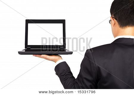 businessman and laptop isolated on white background