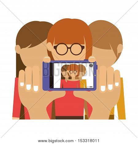 group of womens taking a selfie with smartphone device. colorful design. vector illustration