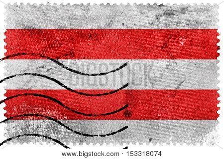 Flag Of Usti Nad Labem, Czechia, Old Postage Stamp