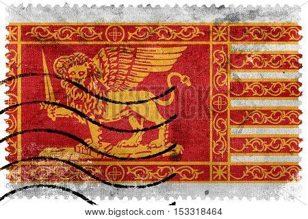 Flag Of Venice, Italy, Old Postage Stamp