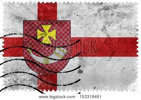 Flag Of Ventspils, Latvia, Old Postage Stamp