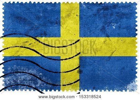 Flag Of Verona, Italy, Old Postage Stamp