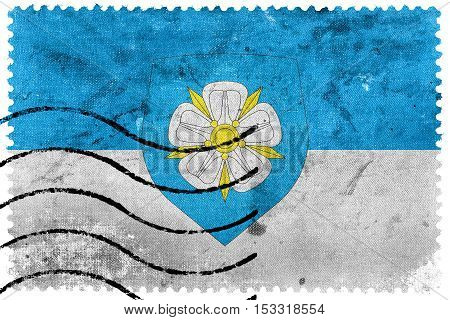 Flag Of Viljandi With Coat Of Arms, Estonia, Old Postage Stamp