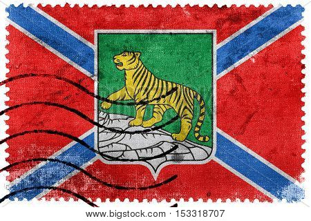 Flag Of Vladivostok, Primorsky Krai, Russia, Old Postage Stamp