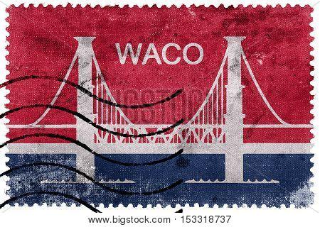Flag Of Waco, Texas, Usa, Old Postage Stamp