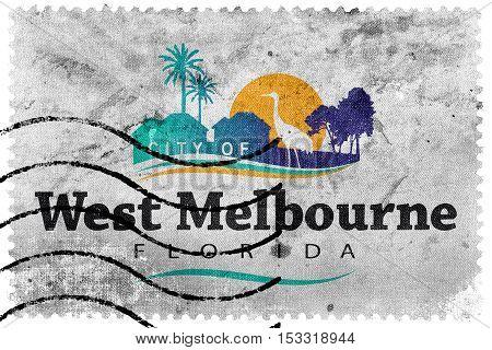 Flag Of West Melbourne, Florida, Usa, Old Postage Stamp