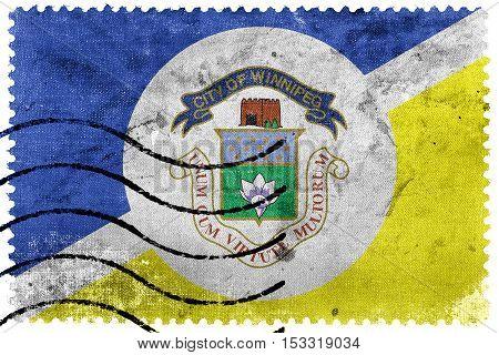 Flag Of Winnipeg, Manitoba, Canada, Old Postage Stamp