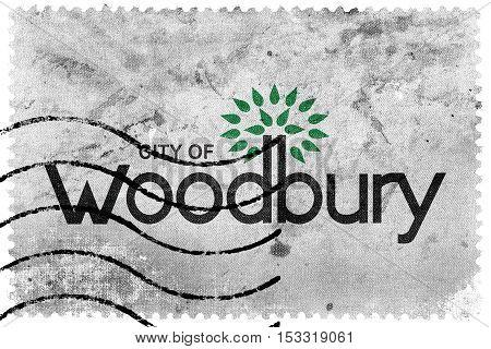 Flag Of Woodbury, Minnesota, Usa, Old Postage Stamp