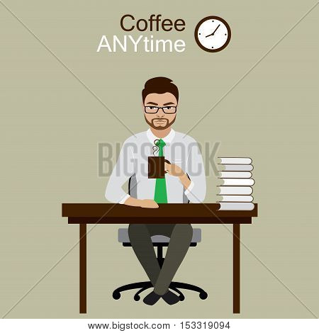 Businessman on coffee break stock vector illustration