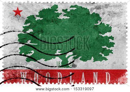 Flag Of Woodland, California, Usa, Old Postage Stamp