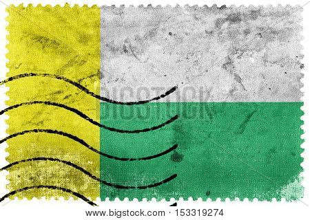 Flag Of Zielona Gora, Poland, Old Postage Stamp