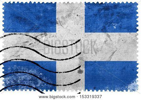 Flag Of Zwolle, Netherlands, Old Postage Stamp