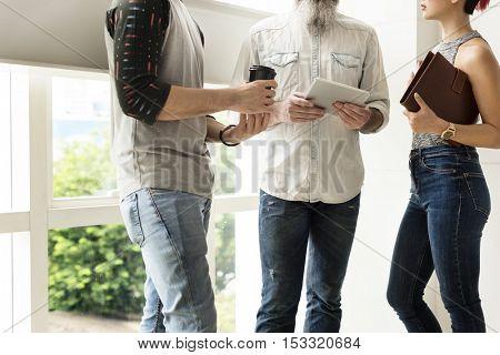 People Friendship Discussion Togetherness Digital Tablet Concept