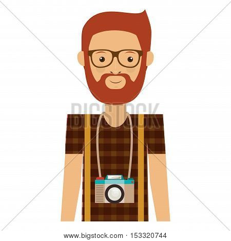 avatar hipster bearded man smiling with photographic professional camera around his neck over white background. vector illustration