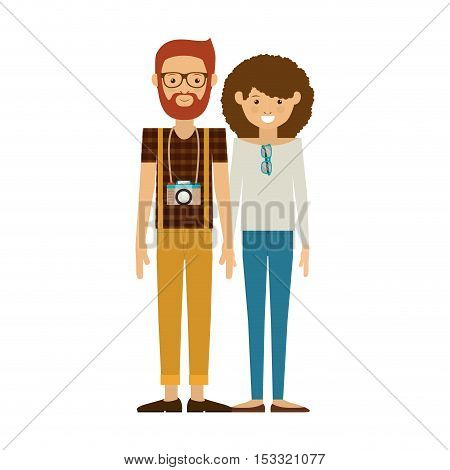 hipster couple woman and man smiling with camera around his neck. vector illustration