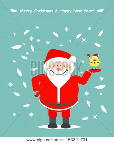 Greeting card. Santa Claus holding a chicken symbol 2017. Christmas and New Year Vector