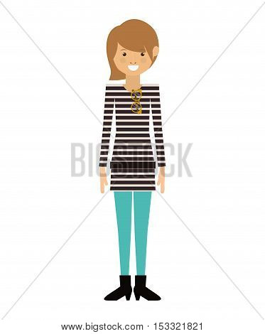 avatar woman smiling with casual clothes over white background. hipster style design. vector illustration