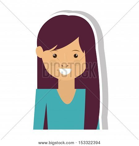 cartoon woman face smiling with hipster style over white background. vector illustration