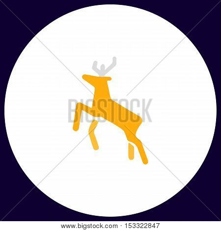 Deer Simple vector button. Illustration symbol. Color flat icon
