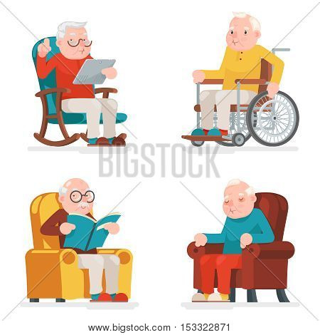 Old Man Characters Sit Sleep Web Surfing Read Armchair Wheelchair Adult Icons Set Cartoon Vector Illustration