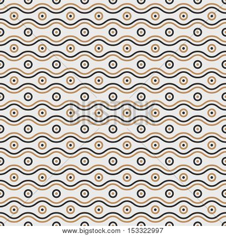 Seamless waves and circles Pattern. Seamless vector background
