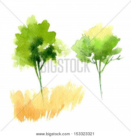 Watercolor trees. Hand painting. Watercolor. Illustration for greeting cards, invitations, and other printing projects