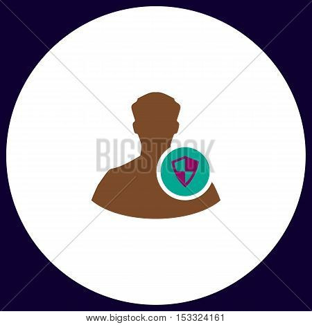 Security Simple vector button. Illustration symbol. Color flat icon