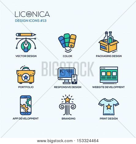 Set of modern vector education thin line flat design icons and pictograms. Collection of designing infographics objects and web elements. Color, packaging, portfolio, responsive design, website, app development, branding, print