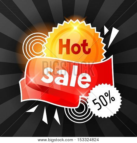 Hot sale banner. Advertising flyer for commerce, discount and special offer.