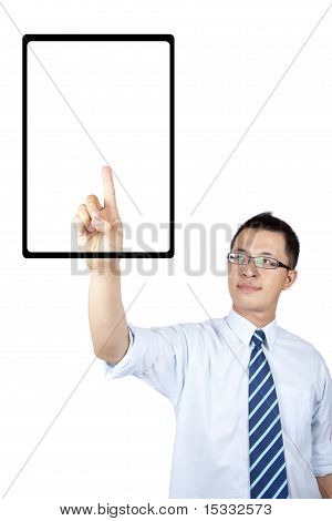Young businessman reading electronic book by touch screen