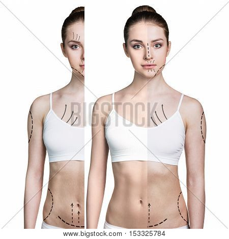 Female body with arrows before and after lose weight isolated on white