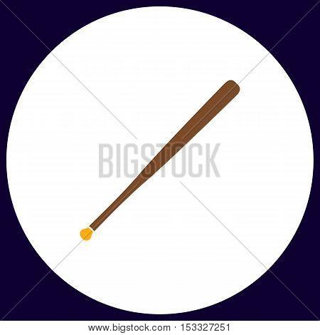 Baseball bat Simple vector button. Illustration symbol. Color flat icon
