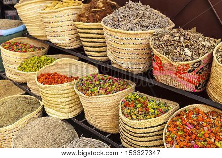 Street market in Marrakech, Morocco. Spices and tea