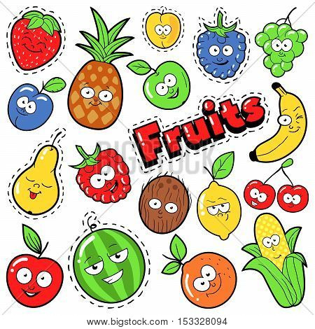 Funny Fruits Emoticons Badges, Patches, Stickers - Banana Apple Pear and Lemon in Pop Art Comic Style. Vector illustration