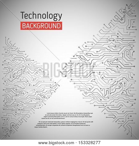 Technological vector background with a circuit board texture. Digital technologies abstract background