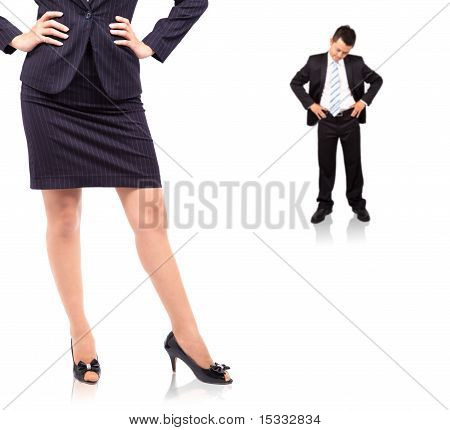 The power of woman.standing businesswoman and Depression businessman