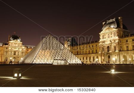 Musee du Louvre at night, Paris, France